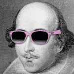 Photo-montage de William Shakespeare avec des lunettes rose
