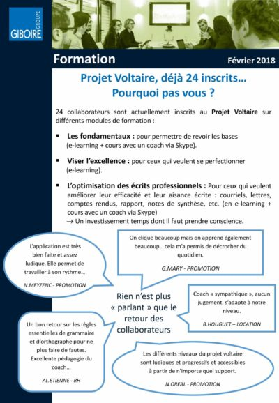 Article intranet du Groupe Giboire