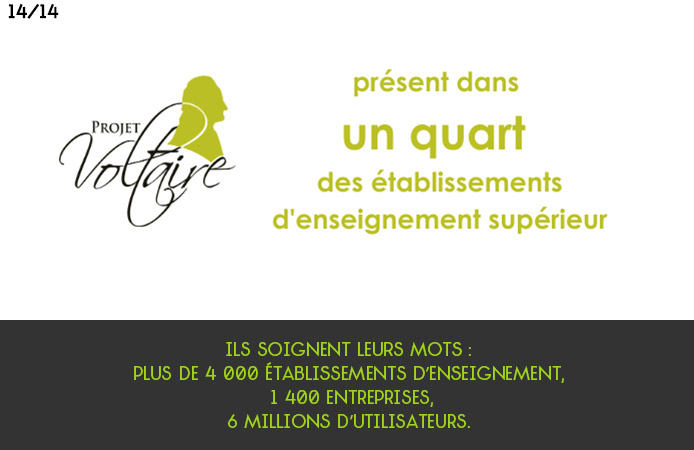 Slide 14 Projet Voltaire pour les établissements de l'enseignement supérieur
